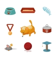 Domestic cat cartoon icons set vector image vector image
