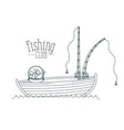 monochrome sketch silhouette boat fishing club and vector image