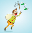 man chasing money vector image