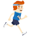 Hipster funny man running and listening music Flat vector image