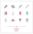 Ice Cream Line Icons Set vector image