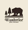 beige color background with logo forest with bear vector image