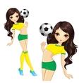 Brunette Brazilian Soccer Girl vector image