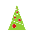 Green Christmas tree with red balls vector image