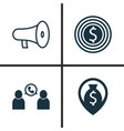 Hr icons set collection of bullhorn goal vector image