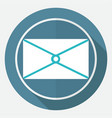icon postal envelope on white circle with a long vector image