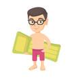little caucasian boy holding inflatable mattress vector image