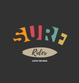 Surf Rider - Surfing artwork with inscription vector image