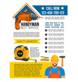 handyman and house repair service poster vector image vector image
