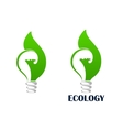 Green energy light bulb with leaf icon vector image