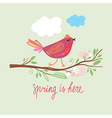 Little cute bird on a brunch vector