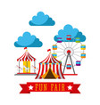 amusement fun fair theme park poster template vector image