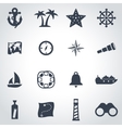 black nautical icon set vector image