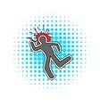 Chalk line and a blood splat icon comics style vector image
