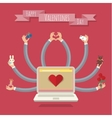 Many-hands laptop Valentine card vector image