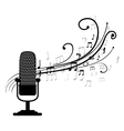 microphone retro with musical pattern vector image