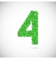 Number four made up of green leaves vector image