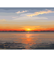 painted beautiful sunset on the river vector image