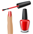Red nail polish with woman finger vector image