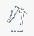 shoe repair outline icon vector image