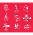 Valentines Day typographic design set on red vector image