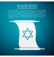 Star of David on scroll flat icon over blue vector image