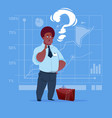 african american business man with question mark vector image