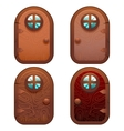 Cartoon Wooden And Stone Fairy Door For Ui Game vector image