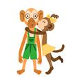 Monkey girl kiss vector image