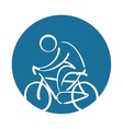 cyclist silhouette sport health icon vector image