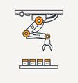 Factory robotic arm thin line icon vector image