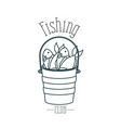 monochrome sketch silhouette bucket full fish and vector image