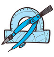 protractors and compasses drawing instruments vector image