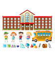 school building and many children vector image
