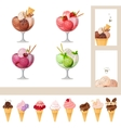 Set with various icecreams - in bowls and cones vector image