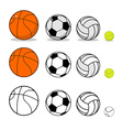 Sports ball set Basketball and football Tennis and vector image