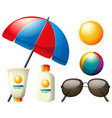 summer elements with umbrella and sun vector image