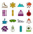 winter icons doodle set vector image