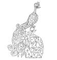 Zen art stylized peacock Hand drawn doodle vector image