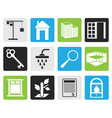 Black Simple Real Estate icons vector image