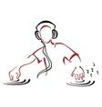 DJ behind console vector image