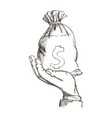 hand holding sack money dollar engraving design vector image