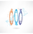 Three fishes grunge icon vector image vector image