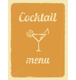 cocktail menu retro poster orange vector image