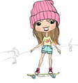hipster baby girl riding a skateboard vector image vector image