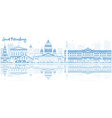 Outline Saint Petersburg skyline vector image