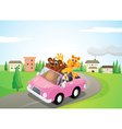 Animals in a car vector image