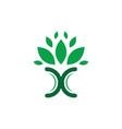 leaf letter x eco logo vector image