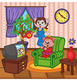 mother cat watering flowers baby cat watching TV vector image