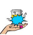 pop art wonam hold coffee mug vector image